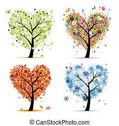 Vier Jahreszeiten - Frühling, Sommer, Herbst, Winter. Kunstbaumherzform für dein Design