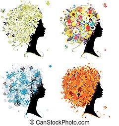 Vier Jahreszeiten - Frühling, Sommer, Herbst, Winter. Weiblicher Kopf für dein Design