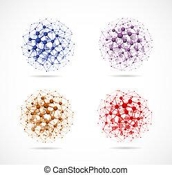 Vier Molekularsphären