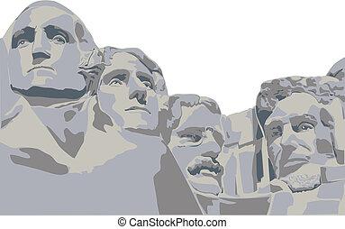 vier, präsidenten, einfassung rushmore
