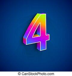 vier, vektor, zahl, 3d