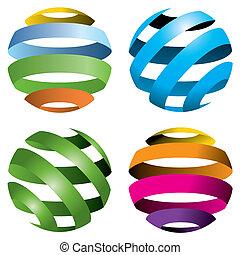 Vier Vektorkugeln