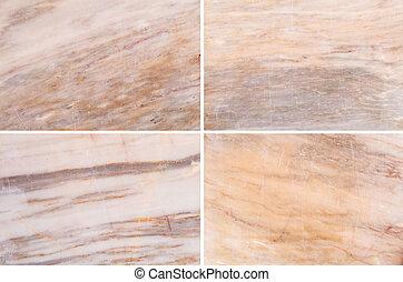 Vier verschiedene Marmorbilder.