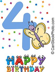 Vierte Geburtstags-Cartoon-Karte.