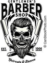Vintage-Barberschädel mit gekreuzten Rasierern.