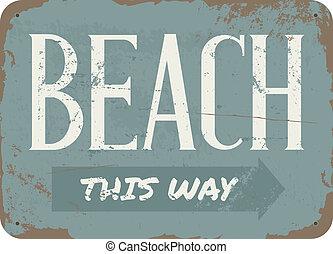Vintage Beach-Metal-Schild