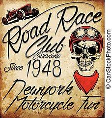 Vintage Biker Schädel Emblem.