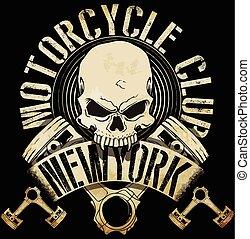 Vintage Biker Schädel Emblem tee Grafik.