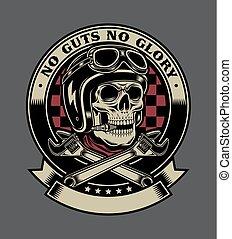 Vintage Biker Schädel mit gekreuzten Affenkränzen Emblem.