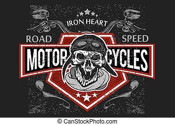 Vintage Bikerschädel, T-Shirts, Embleme.