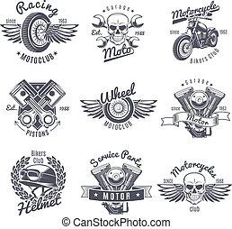 Vintage monochrome Motorrad Labels gesetzt.