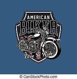 Vintage Motorrad Emblem.