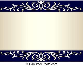 Vintage Scroll Hintergrund in Silberbeige und Blau