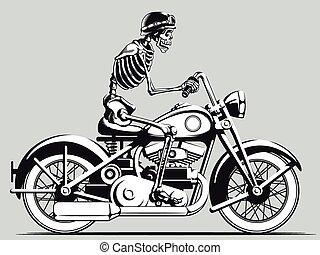 Vintage Skelett Biker Vektor silho