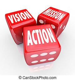 Vision Mission: Drei rote Würfel Ziele