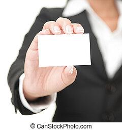 Visitenkarte - Geschäftsfrau mit leerem Schild