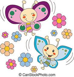 vlinders, blumen, liebe