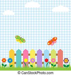 vlinders, blumen, zaun, bunte