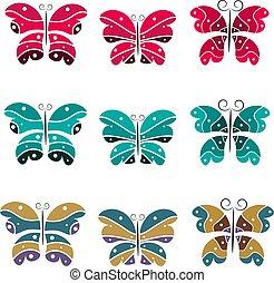 vlinders, satz, dein, design.