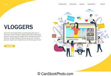 Vloggers Vektor Website Landing Page Design Vorlage