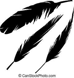 vogel, grunge, silhouette, gefieder