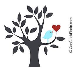 Vogel in einem Baum mit Liebe.