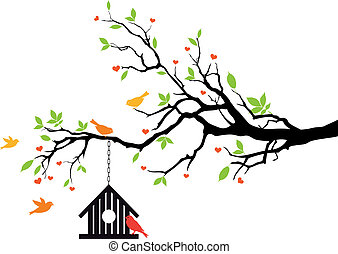 Vogelhaus auf dem Frühlingsbaum, Vektor