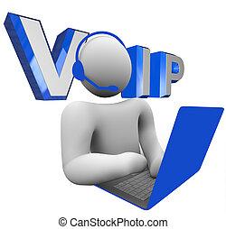 VOIP Person, die über Internet-Protokoll mit Computerstimme spricht