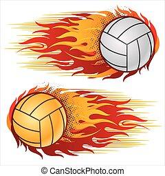 Volleyball mit Flammen