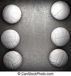 Volleyballballball und Metallwand Hintergrund.