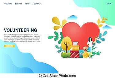 Volunteering Vektor Website Landing Page Design Vorlage