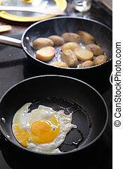 vorbereiten, bratpfanne, gebratene eier