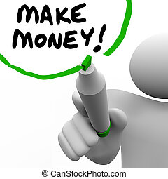 wörter, erfolg, bekommen, geld, machen, schreibende, reich, unterricht, mann