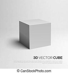 würfel, abbildung, vektor, 3d., dein, design.