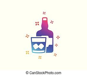 würfel, alkohol, whiskey, zeichen., eis, glas, vektor, icon., schottisch