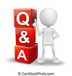 würfel, wort, abbildung, person, q&a, 3d