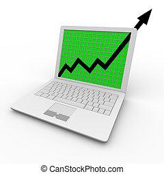 Wachstumspfeil auf Laptop