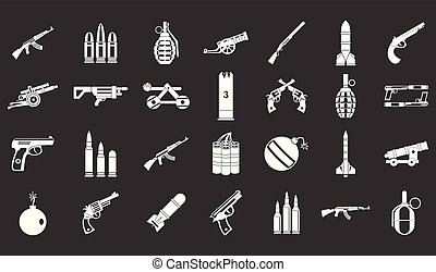 Waffen-Munitions-Icon setzt grauen Vektor.