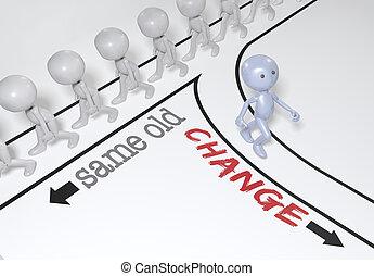 wahlmöglichkeit, person, neu , gehen, pfad, änderung