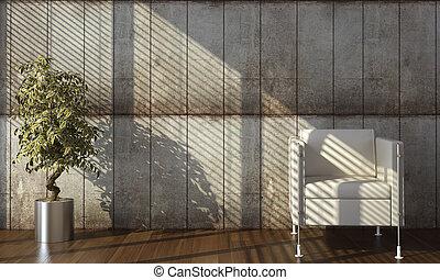 wand, beton, innenarchitektur, sessel