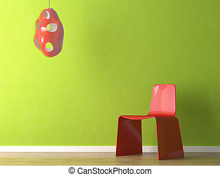 wand, design, inneneinrichtung, grüner stuhl, rotes