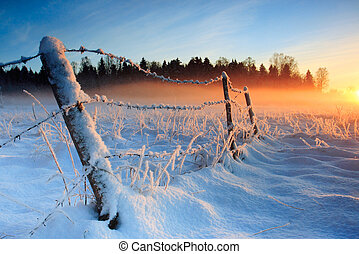 Warm kalter Winteruntergang
