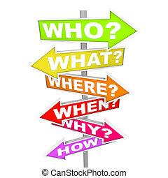 was, fragen, wenn, -, wie, pfeil, zeichen & schilder, wohin, weshalb