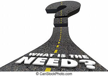 Was ist die Notwendigkeit Road Worte in Frage stellen 3d Illustration.
