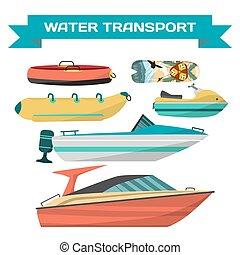 Wasserfahrzeuge zum Reiten am Strand. Motorboote, Motorroller Jet, Surfbretter, Banane und Tube. See- und Flusstransport. Auf weißem Hintergrund