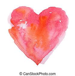 Wasserfarbenes Herz. Konzept - Liebe, Beziehung, Kunst, Malerei