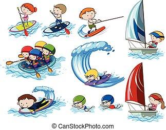 Wassersportaktivitäten.