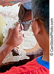 Wayang kult Puppe. Asiatische berühmte Schattenpuppe.