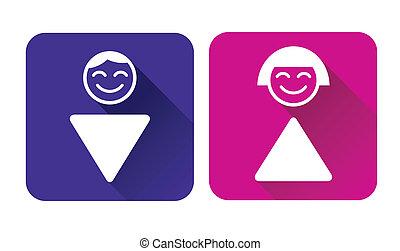WC-Schild. Mann und Frau