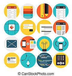 Web Design und Entwicklung flache Symbole